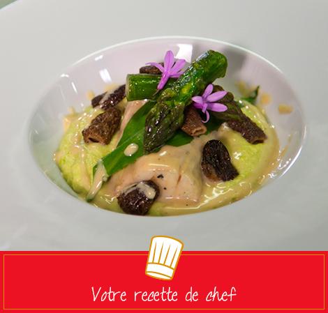 Bar glacé aux morilles, polenta coulante d'asperges vertes