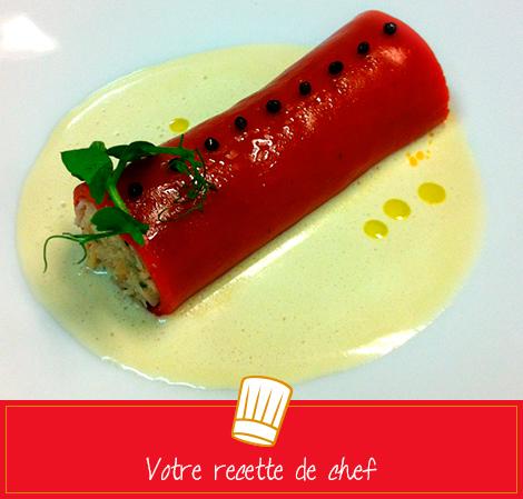 Cannelloni au poivron et tourteau de Roscoff, crème de fenouil glacée