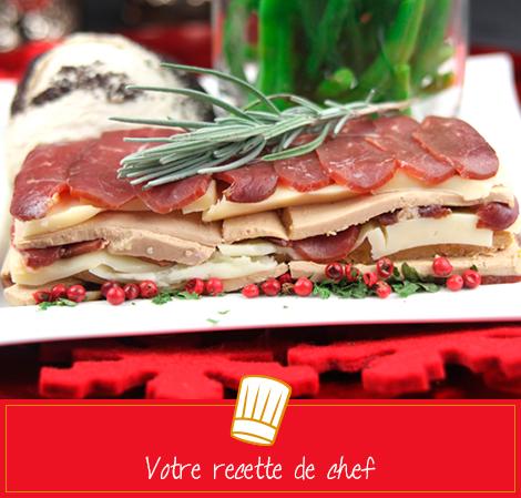 Millefeuille de magret de canard, foie gras et fromage de brebis