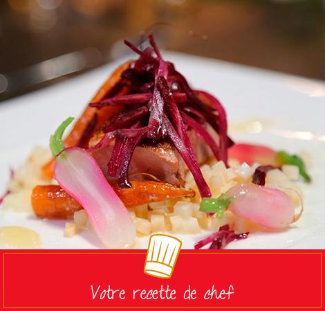 Pavé de veau, celeri'sotto et carottes éclatées