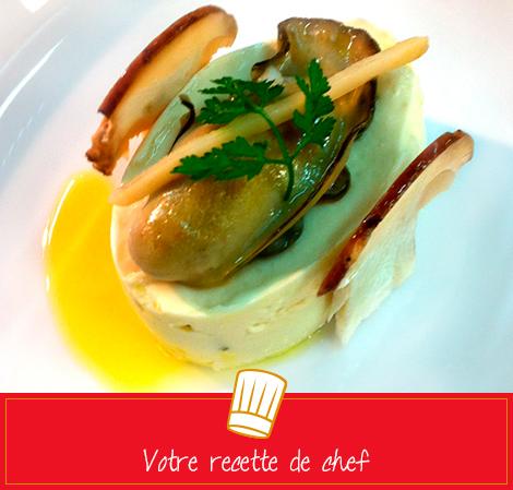 Savonnette de volaille fermière au foie gras, huîtres à la plancha