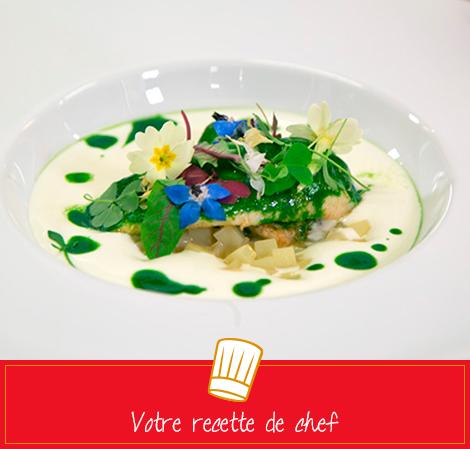 Le Saint-Pierre en aiguillettes, rôti au vert, risotto crémeux de pommes de terre