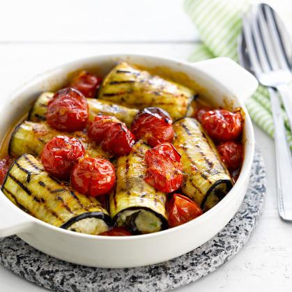 Cannelonis d'aubergines à la tartiflette et aux tomates cerises