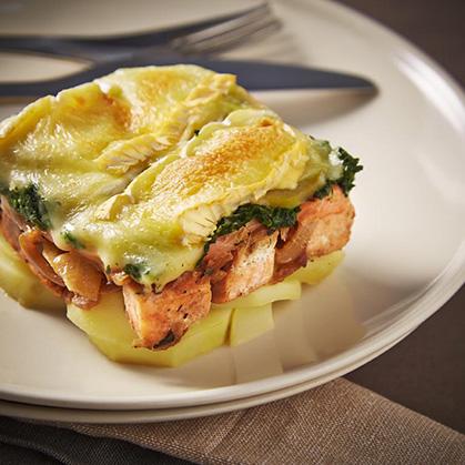 Tartiflette aux 2 saumons et épinard