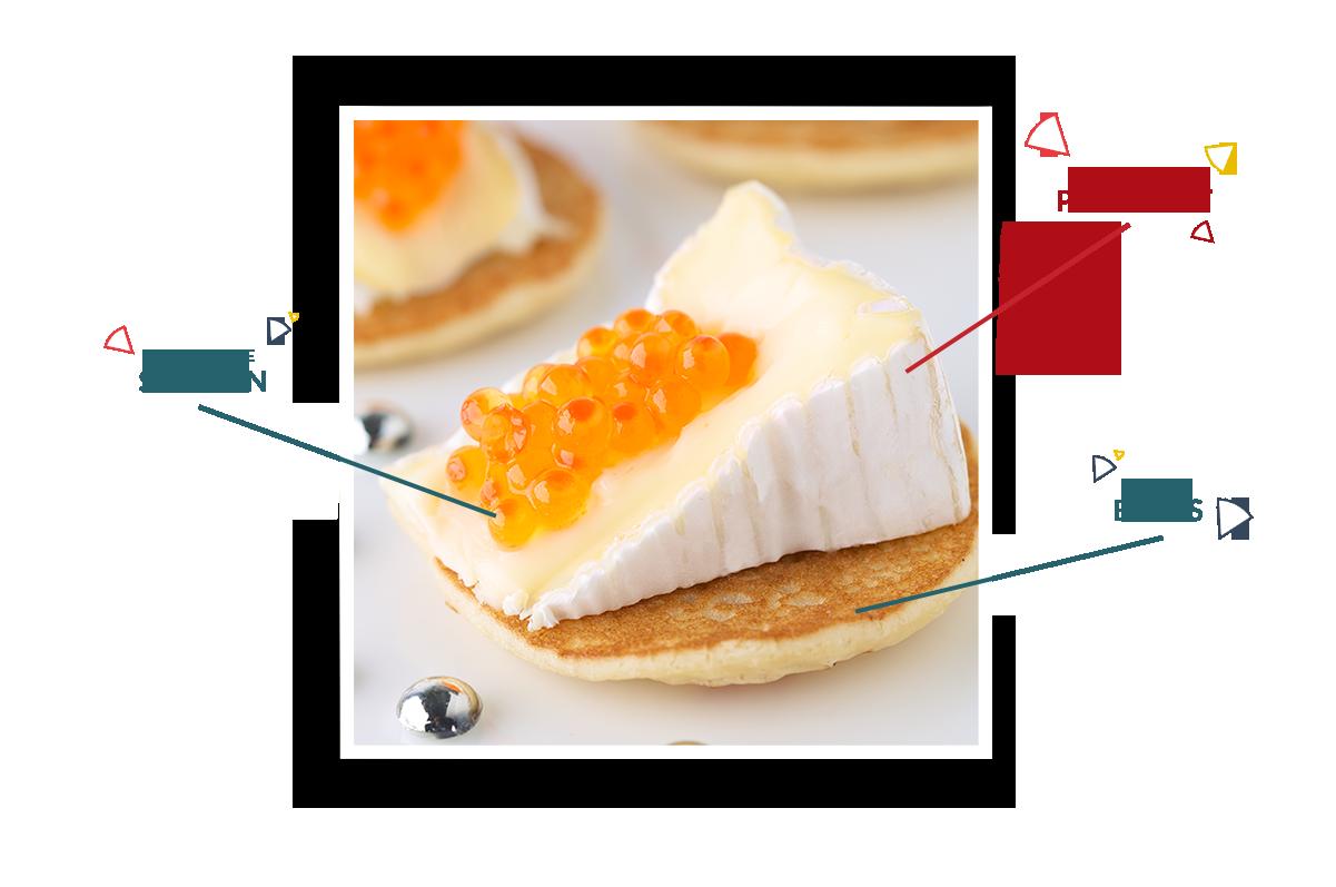 Mini blinis de Camembert Président aux œufs de saumon