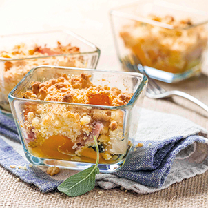 Crumble au potimarron, parmesan et bacon