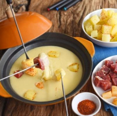 Fondue aux pommes de terre et poires au piment d'Espelette